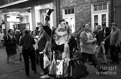 Photograph - Hoping For Mardi Gras Beads Mono by John Rizzuto