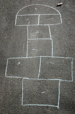 Photograph - Hopscotch Game Outline Drawn In Chalk On Driveway by Rob Huntley