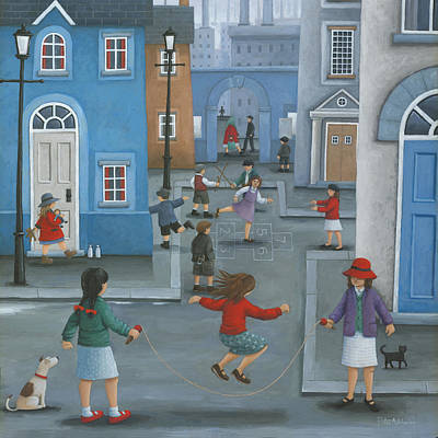 Children Playing Photograph - Hopscotch by Peter Adderley