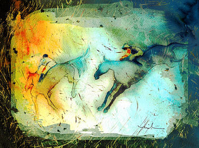 Painting - Horse Racing 02 Madness by Miki De Goodaboom