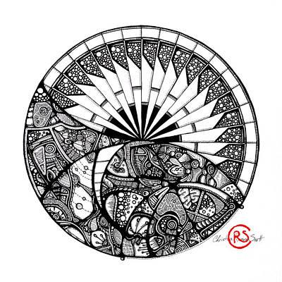 Sunset Abstract Drawing - Horizon Mandala by Christina Rivera-Scott