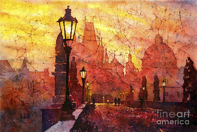 Charles Bridge Painting - Horizontal Flip by Ryan Fox
