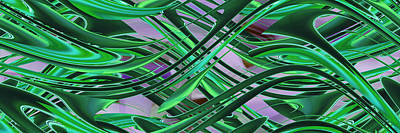 Digital Art - Horizontal Green Abstract by rd Erickson