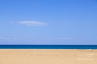 Horizontal Lines Of Sandy Beach Blue Sea And Sky Art Print