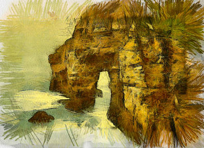Abstract Seascape Digital Art - Horn Head Temple Arch by Unknown