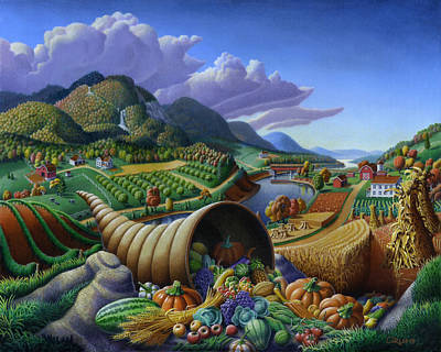 Cornucopia Painting - Horn Of Plenty - Cornucopia - Autumn Thanksgiving Harvest Landscape Oil Painting - Food Abundance by Walt Curlee