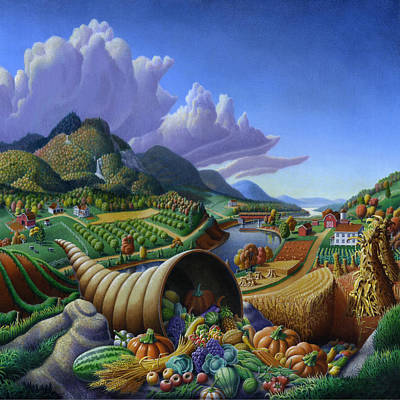 Horn Of Plenty Painting - Horn Of Plenty Farm Landscape - Bountiful Harvest - Square Format by Walt Curlee
