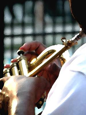 Jerry Sodorff Royalty-Free and Rights-Managed Images - Horn Player PK 0071 by Jerry Sodorff
