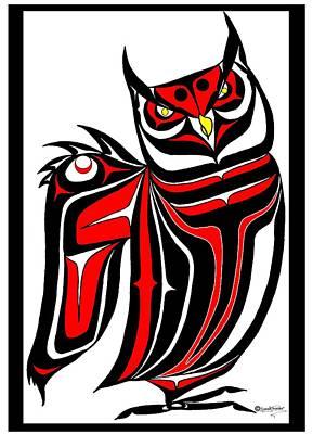 Hornd Owl Art Print by Speakthunder Berry