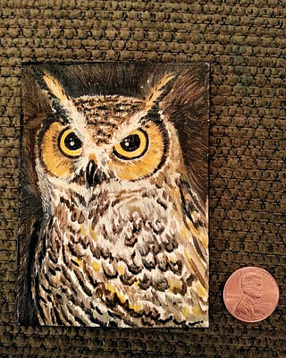Painting - Horned Owl by Steve Ozment