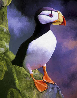 Comic Character Paintings - Horned Puffin by David Wagner