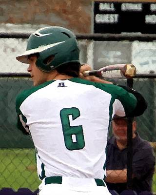 Baseball Players Mixed Media - Hornet Batter by Barry Spears