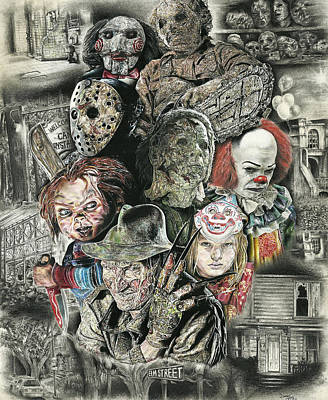 Michael Drawing - Horror Movie Murderers by Daniel  Ayala