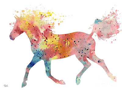 Moose Watercolor Painting - Horse 4 by Watercolor Girl
