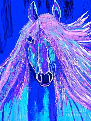 Painting - Horse Abstract Blue And Purple by Saundra Myles
