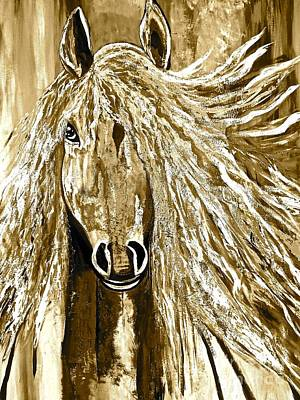 Painting - Horse Abstract Neutral by Saundra Myles