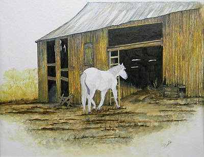 Horse Shed Drawing - Horse And Barn by Bertie Edwards