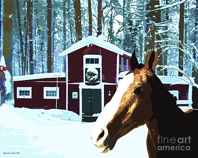 Digital Art - Horse And Barn No2 by Megan Dirsa-DuBois