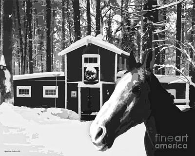 Digital Art - Horse And Barn No3 by Megan Dirsa-DuBois