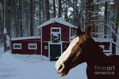 Digital Art - Horse And Barn No4 by Megan Dirsa-DuBois