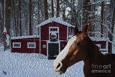 Mixed Media - Horse And Barn - Painting by Megan Dirsa-DuBois