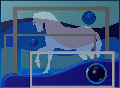 Horse Digital Art - Horse And Blue Balls by Alberto  RuiZ