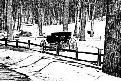Horse And Buggy - No Work Today A Black And White Abstract Art Print by Janice Adomeit