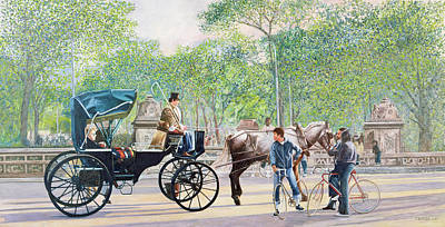 Park Scene Painting - Horse And Carriage by Anthony Butera