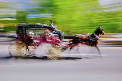 Carriage Road Photograph - Horse And Carriage Drives In Traffic by Panoramic Images