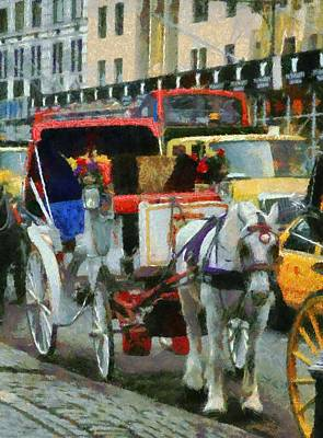 Wagon Mixed Media - Horse And Carriage In New York City by Dan Sproul