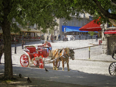 Horse And Carriage Street Scene Montreal Print by Ann Powell