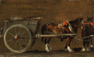 Tack Painting - Horse And Cart A Farm Cart With Two Horses In Harness by Litz Collection