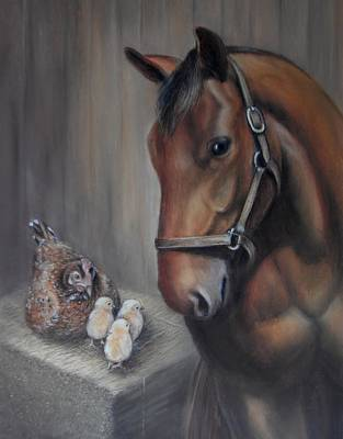 Horse Pastels Painting - Horse And Chickens - Together In The Barn by Sharon Challand