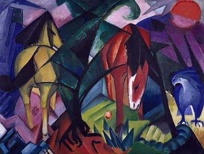 Blue And Red Painting - Horse And Eagle by Franz Marc