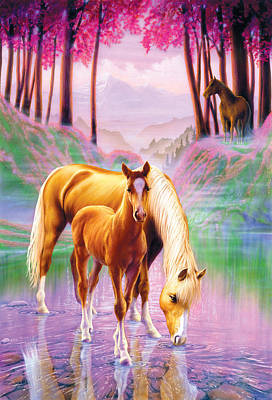 Horse And Foal Art Print by Andrew Farley