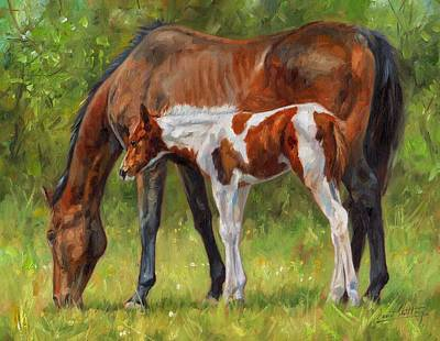 Horse And Foal Art Print by David Stribbling