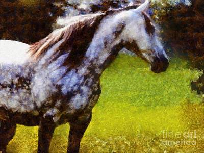 Black And White Horses Digital Art - Horse And I Will Wait For You by Janine Riley