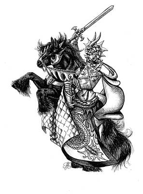Drawing - Horse And Knight by Scarlett Royal