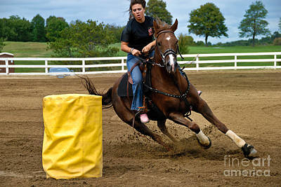 Barrel Racing Photograph - Horse And Rider In Barrel Race by Amy Cicconi