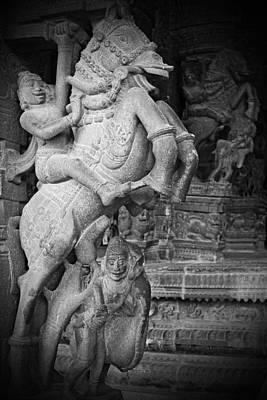 Hindu Photograph - Horse And Rider Pillar 1 by Karen Anderson