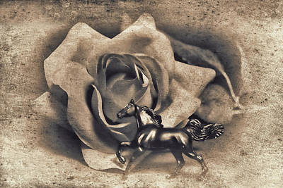 Horse And Rose Art Print