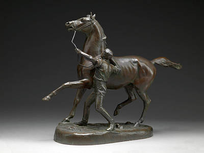 Bronze Horse Drawing - Horse And Stable Lad Stable Lad And Horse by Litz Collection
