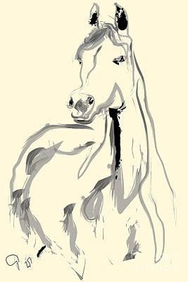 Colorful Art Painting - Horse - Arab by Go Van Kampen