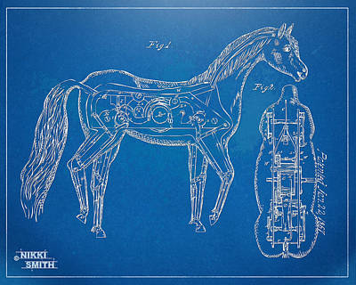 18th Century Digital Art - Horse Automatic Toy Patent Artwork 1867 by Nikki Marie Smith