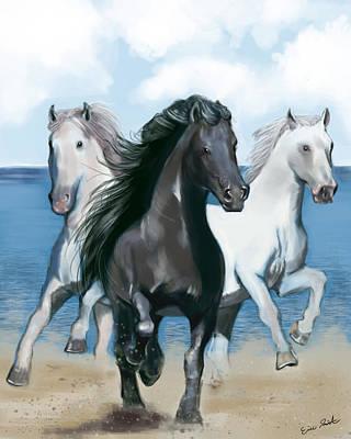 Horse Beach Art Print