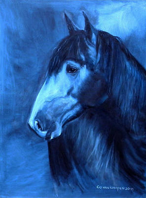 Portrait Art Painting - Horse - Carol In Indigo by Go Van Kampen
