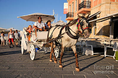 Horse Carriage At The Old Port Of Chania Art Print by George Atsametakis