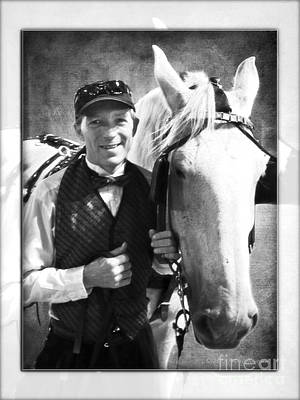 Photograph - Horse Carriage Driver Bw by Walter Herrit