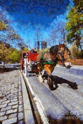 Painting - Horse Carriage In Central Park by George Atsametakis