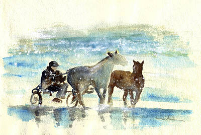 Horses In The Ocean Painting - Horse Carriage On A Beach In Ireland by Miki De Goodaboom